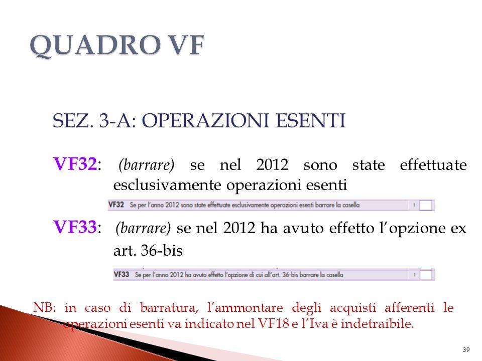 SEZ. 3-A: OPERAZIONI ESENTI VF32 : (barrare) se nel 2012 sono state effettuate esclusivamente operazioni esenti VF33 : (barrare) se nel 2012 ha avuto
