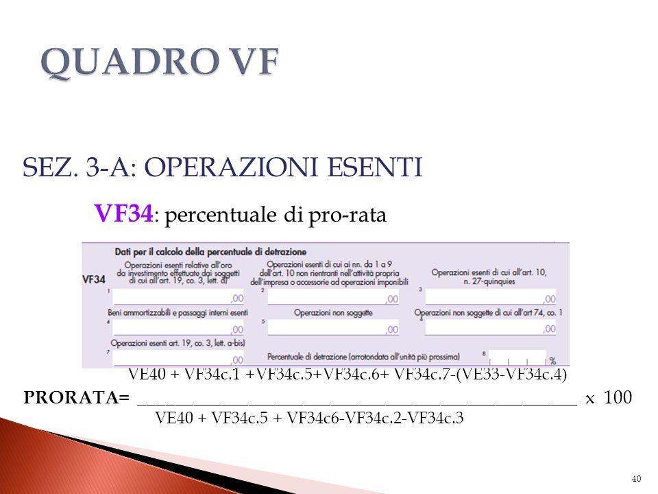 SEZ. 3-A: OPERAZIONI ESENTI VF34 : percentuale di pro-rata VE40 + VF34c.1 +VF34c.5+VF34c.6+ VF34c.7-(VE33-VF34c.4) PRORATA = _________________________