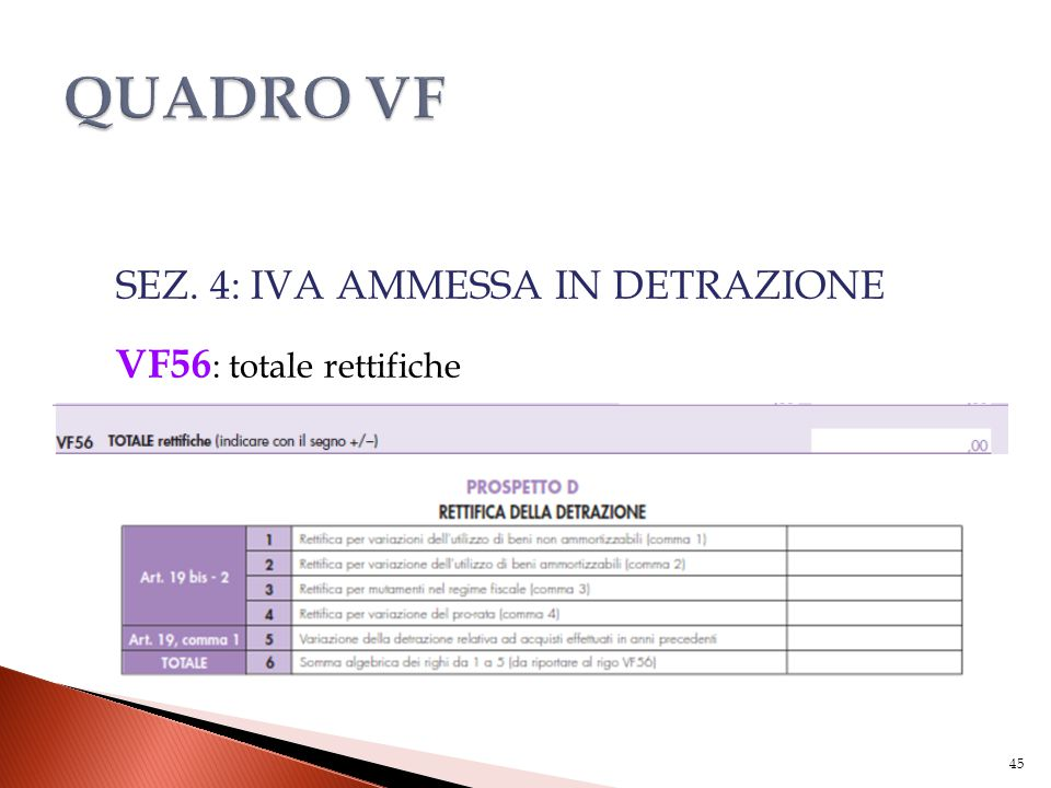 SEZ. 4: IVA AMMESSA IN DETRAZIONE VF56 : totale rettifiche 45