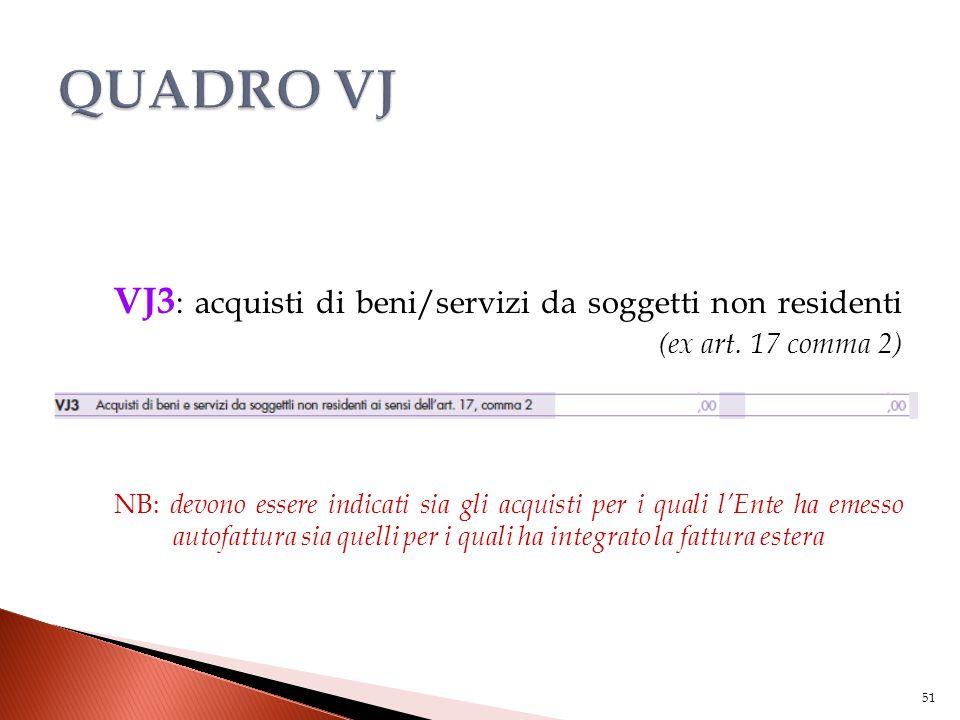 VJ3 : acquisti di beni/servizi da soggetti non residenti (ex art. 17 comma 2) NB: devono essere indicati sia gli acquisti per i quali l'Ente ha emesso