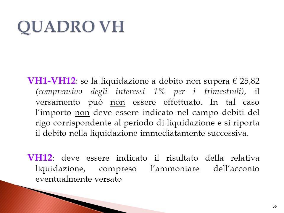 VH1-VH12 : se la liquidazione a debito non supera € 25,82 (comprensivo degli interessi 1% per i trimestrali), il versamento può non essere effettuato.