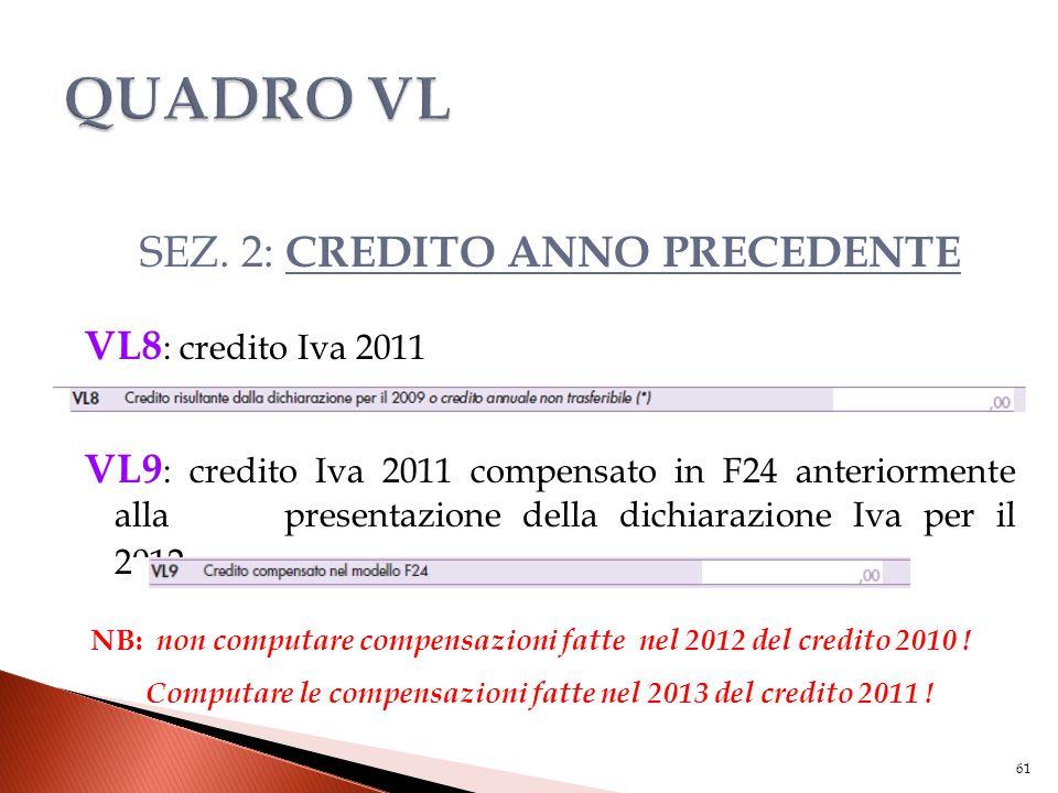 SEZ. 2: CREDITO ANNO PRECEDENTE VL8 : credito Iva 2011 VL9 : credito Iva 2011 compensato in F24 anteriormente alla presentazione della dichiarazione I