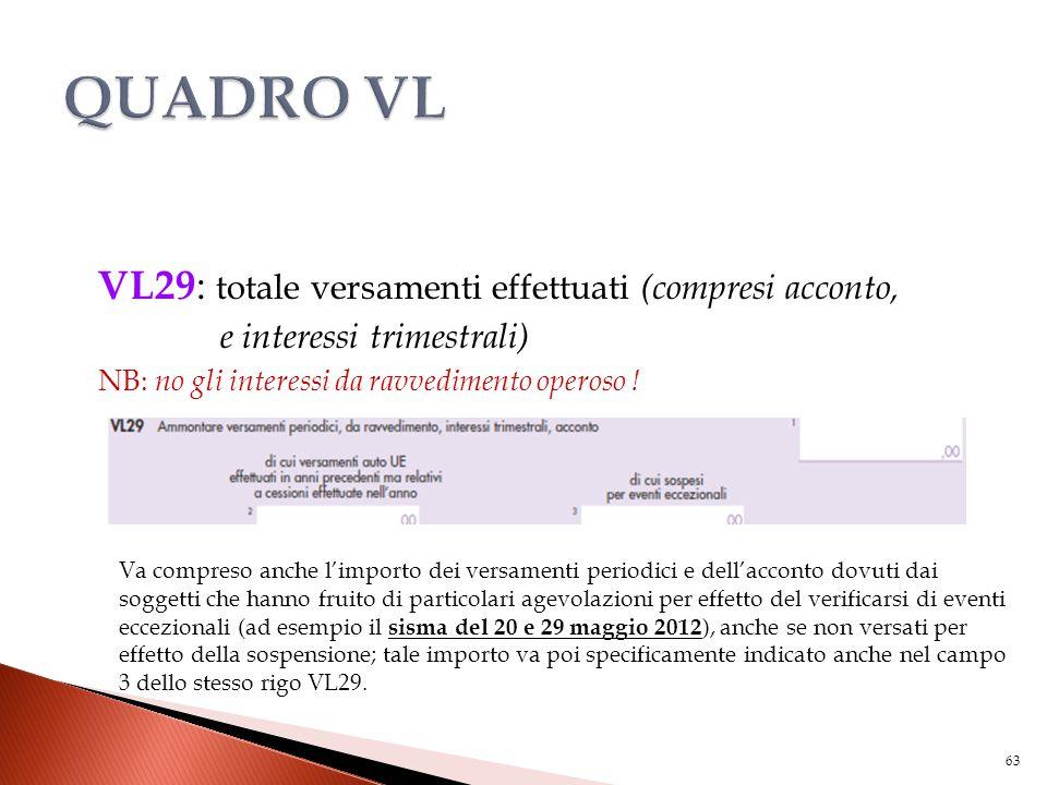 VL29 : totale versamenti effettuati (compresi acconto, e interessi trimestrali) NB: no gli interessi da ravvedimento operoso ! Va compreso anche l'imp