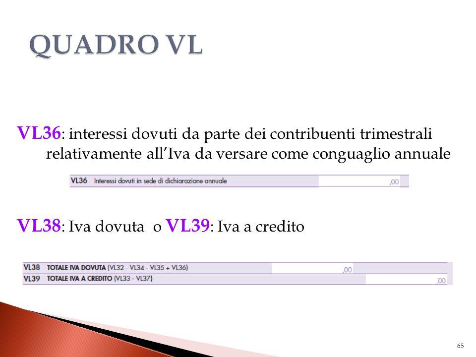 VL36 : interessi dovuti da parte dei contribuenti trimestrali relativamente all'Iva da versare come conguaglio annuale VL38 : Iva dovuta o VL39 : Iva
