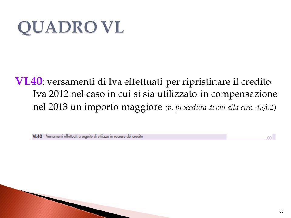 VL40 : versamenti di Iva effettuati per ripristinare il credito Iva 2012 nel caso in cui si sia utilizzato in compensazione nel 2013 un importo maggio