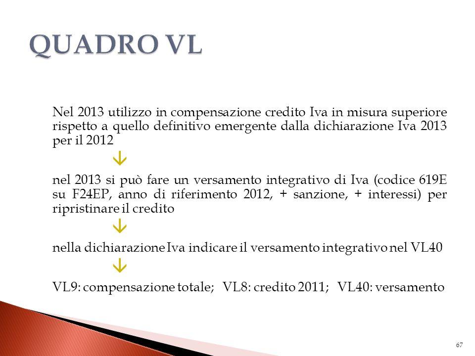 Nel 2013 utilizzo in compensazione credito Iva in misura superiore rispetto a quello definitivo emergente dalla dichiarazione Iva 2013 per il 2012  n