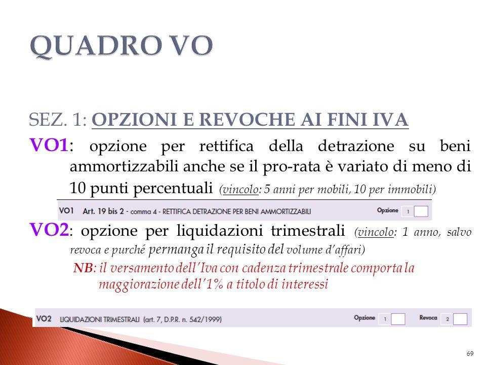 SEZ. 1: OPZIONI E REVOCHE AI FINI IVA VO1 : opzione per rettifica della detrazione su beni ammortizzabili anche se il pro-rata è variato di meno di 10