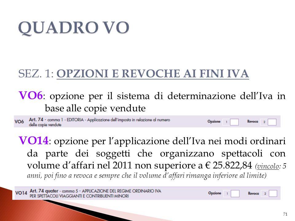 SEZ. 1: OPZIONI E REVOCHE AI FINI IVA VO6 : opzione per il sistema di determinazione dell'Iva in base alle copie vendute VO14 : opzione per l'applicaz