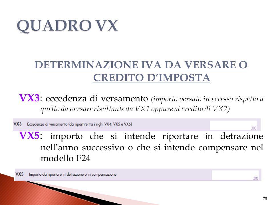 DETERMINAZIONE IVA DA VERSARE O CREDITO D'IMPOSTA VX3 : eccedenza di versamento (importo versato in eccesso rispetto a quello da versare risultante da