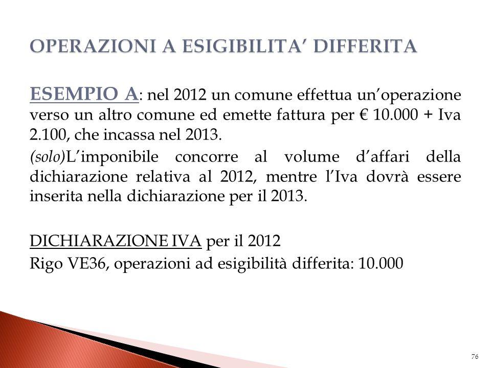 ESEMPIO A : nel 2012 un comune effettua un'operazione verso un altro comune ed emette fattura per € 10.000 + Iva 2.100, che incassa nel 2013. (solo) L