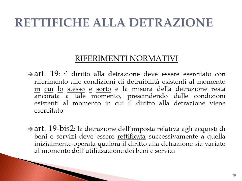 RIFERIMENTI NORMATIVI  art. 19 : il diritto alla detrazione deve essere esercitato con riferimento alle condizioni di detraibilità esistenti al momen