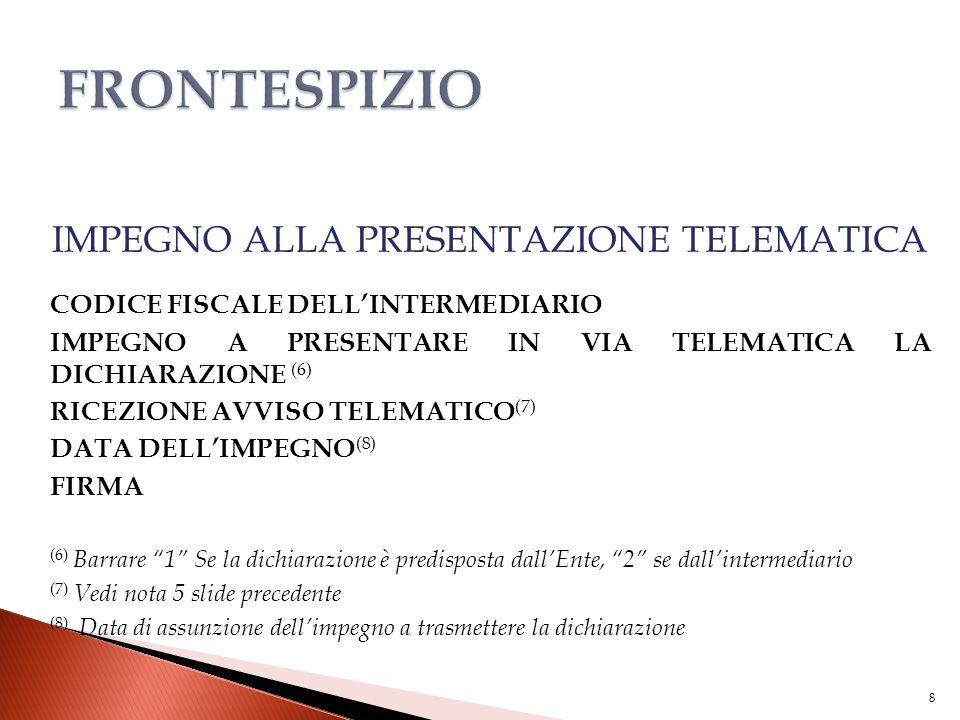 IMPEGNO ALLA PRESENTAZIONE TELEMATICA CODICE FISCALE DELL'INTERMEDIARIO IMPEGNO A PRESENTARE IN VIA TELEMATICA LA DICHIARAZIONE (6) RICEZIONE AVVISO T