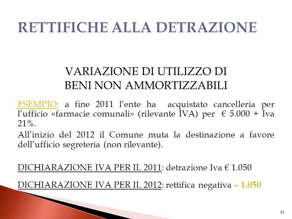 VARIAZIONE DI UTILIZZO DI BENI NON AMMORTIZZABILI ESEMPIO: a fine 2011 l'ente ha acquistato cancelleria per l'ufficio «farmacie comunali» (rilevante I
