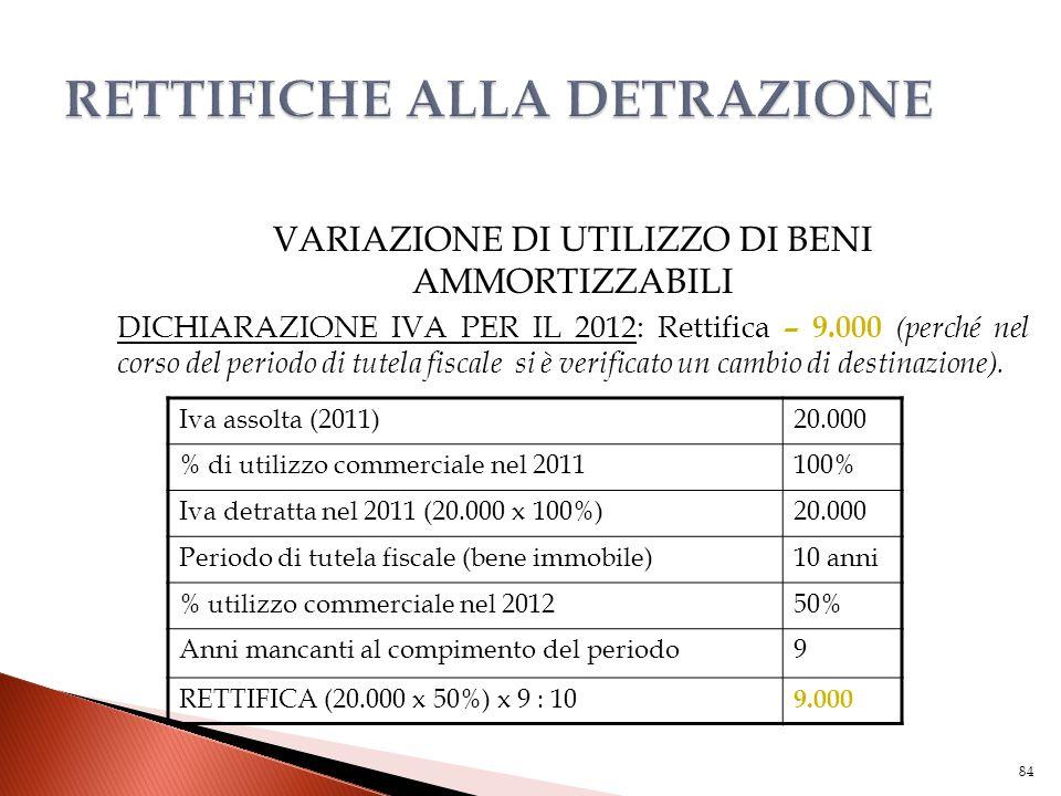VARIAZIONE DI UTILIZZO DI BENI AMMORTIZZABILI DICHIARAZIONE IVA PER IL 2012: Rettifica – 9.000 (perché nel corso del periodo di tutela fiscale si è ve