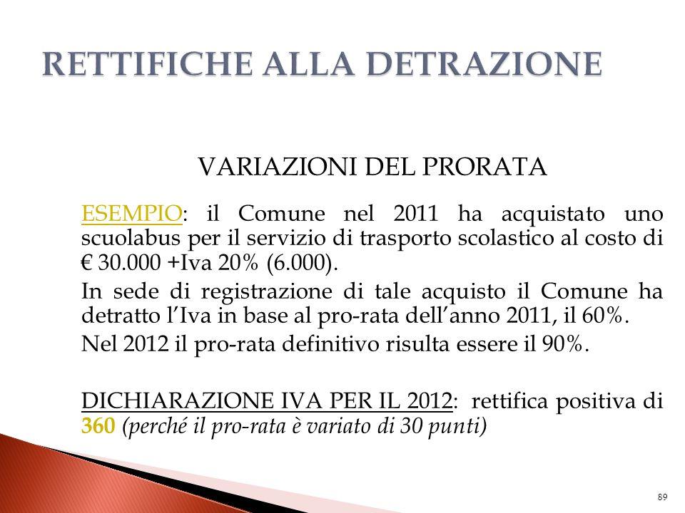VARIAZIONI DEL PRORATA ESEMPIO: il Comune nel 2011 ha acquistato uno scuolabus per il servizio di trasporto scolastico al costo di € 30.000 +Iva 20% (