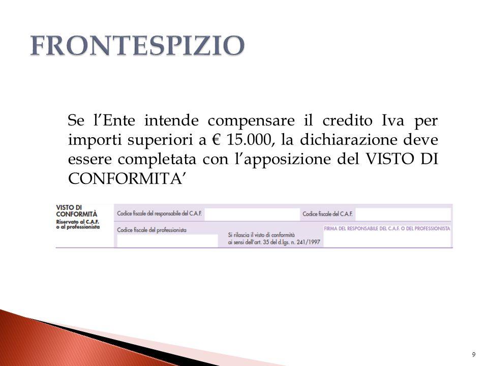Se l'Ente intende compensare il credito Iva per importi superiori a € 15.000, la dichiarazione deve essere completata con l'apposizione del VISTO DI C