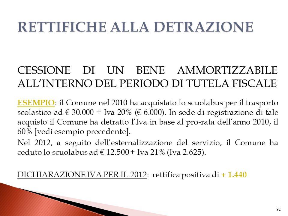 CESSIONE DI UN BENE AMMORTIZZABILE ALL'INTERNO DEL PERIODO DI TUTELA FISCALE ESEMPIO : il Comune nel 2010 ha acquistato lo scuolabus per il trasporto
