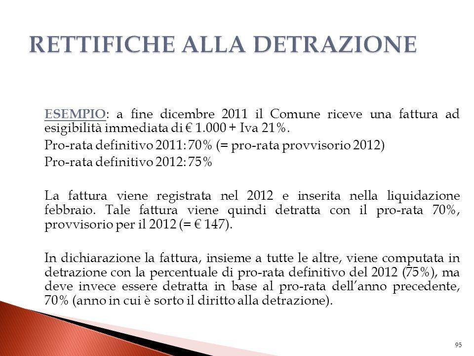 ESEMPIO : a fine dicembre 2011 il Comune riceve una fattura ad esigibilità immediata di € 1.000 + Iva 21%. Pro-rata definitivo 2011: 70% (= pro-rata p
