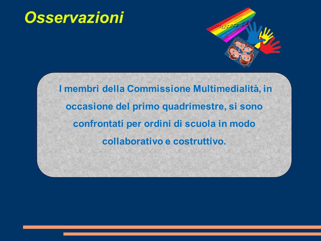 Osservazioni I membri della Commissione Multimedialità, in occasione del primo quadrimestre, si sono confrontati per ordini di scuola in modo collaborativo e costruttivo.