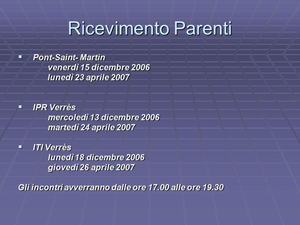 Ricevimento Parenti  Pont-Saint- Martin venerdì 15 dicembre 2006 lunedì 23 aprile 2007 lunedì 23 aprile 2007  IPR Verrès mercoledì 13 dicembre 2006 martedì 24 aprile 2007  ITI Verrès lunedì 18 dicembre 2006 giovedì 26 aprile 2007 Gli incontri avverranno dalle ore 17.00 alle ore 19.30