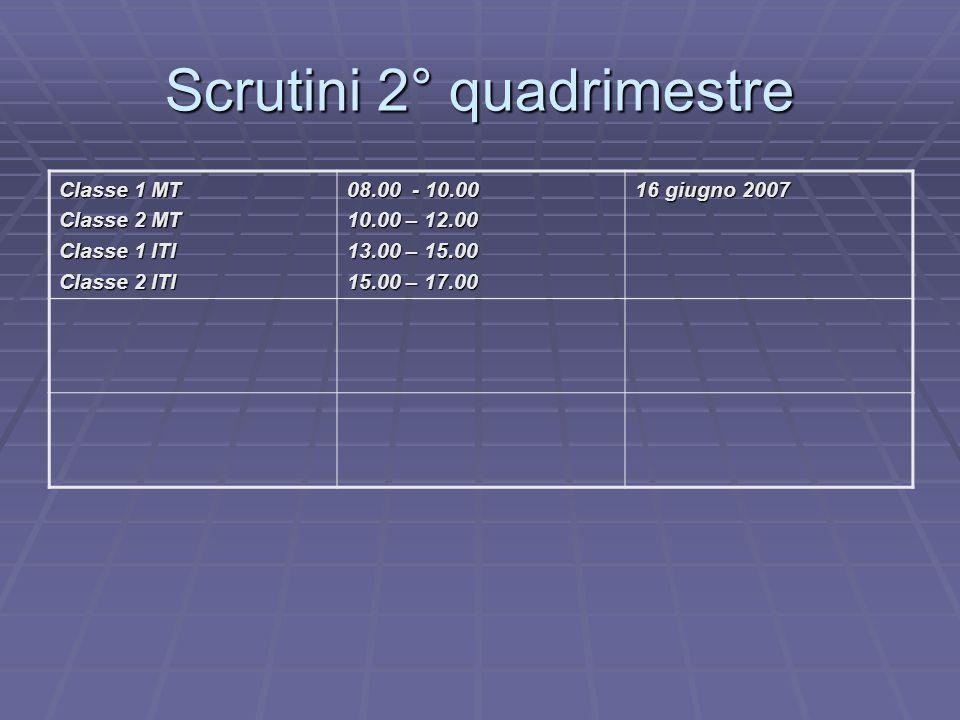 Scrutini 2° quadrimestre Classe 1 MT Classe 2 MT Classe 1 ITI Classe 2 ITI 08.00 - 10.00 10.00 – 12.00 13.00 – 15.00 15.00 – 17.00 16 giugno 2007