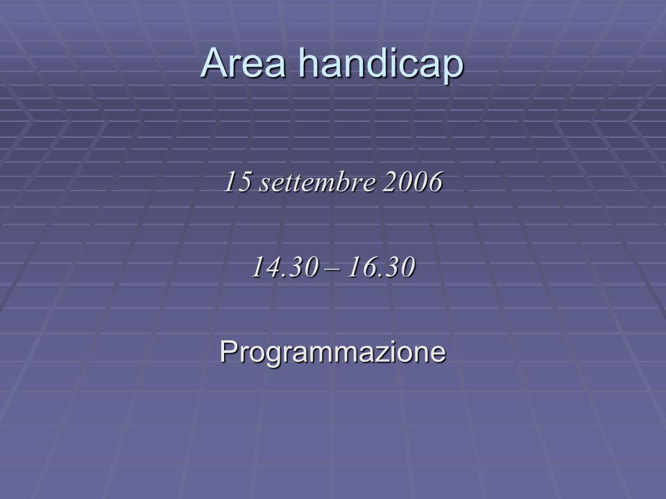 Area handicap 15 settembre 2006 14.30 – 16.30 Programmazione