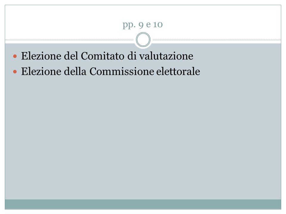pp. 9 e 10 Elezione del Comitato di valutazione Elezione della Commissione elettorale