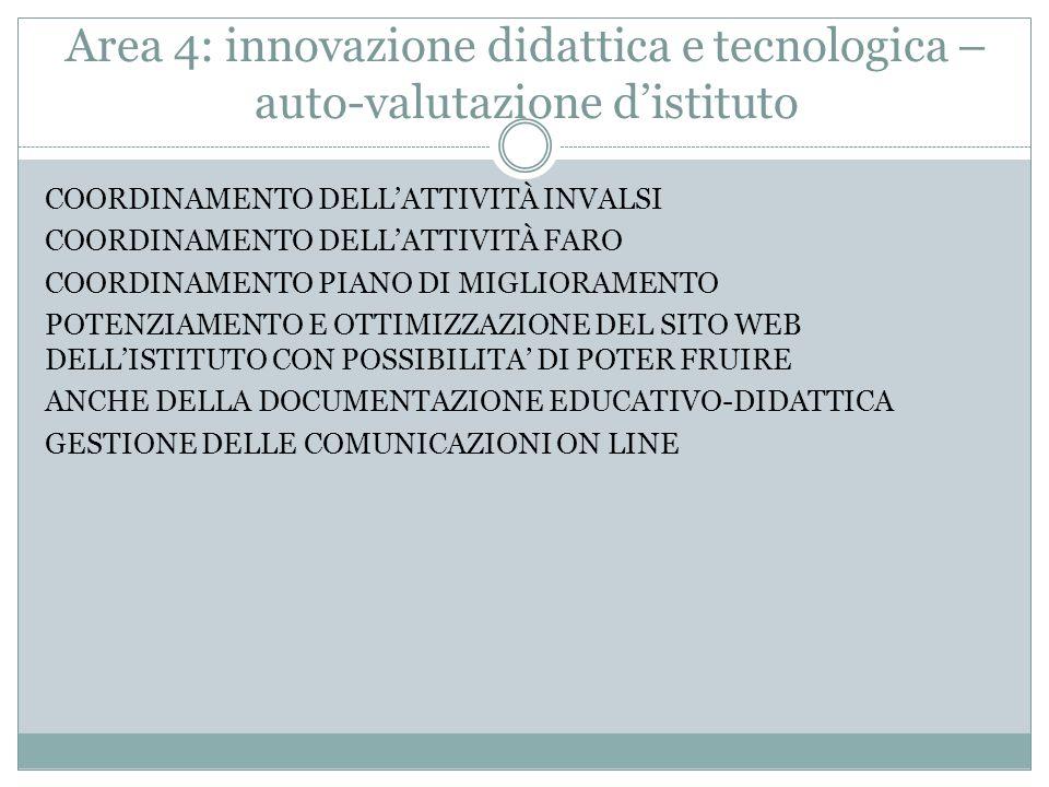 Area 4: innovazione didattica e tecnologica – auto-valutazione d'istituto COORDINAMENTO DELL'ATTIVITÀ INVALSI COORDINAMENTO DELL'ATTIVITÀ FARO COORDINAMENTO PIANO DI MIGLIORAMENTO POTENZIAMENTO E OTTIMIZZAZIONE DEL SITO WEB DELL'ISTITUTO CON POSSIBILITA' DI POTER FRUIRE ANCHE DELLA DOCUMENTAZIONE EDUCATIVO-DIDATTICA GESTIONE DELLE COMUNICAZIONI ON LINE