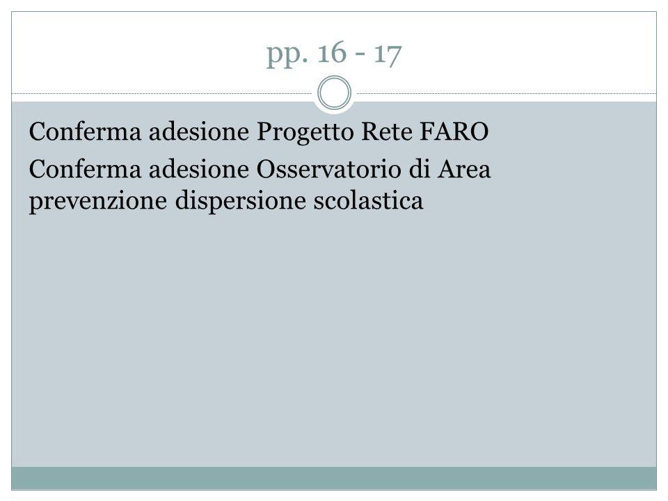 pp. 16 - 17 Conferma adesione Progetto Rete FARO Conferma adesione Osservatorio di Area prevenzione dispersione scolastica