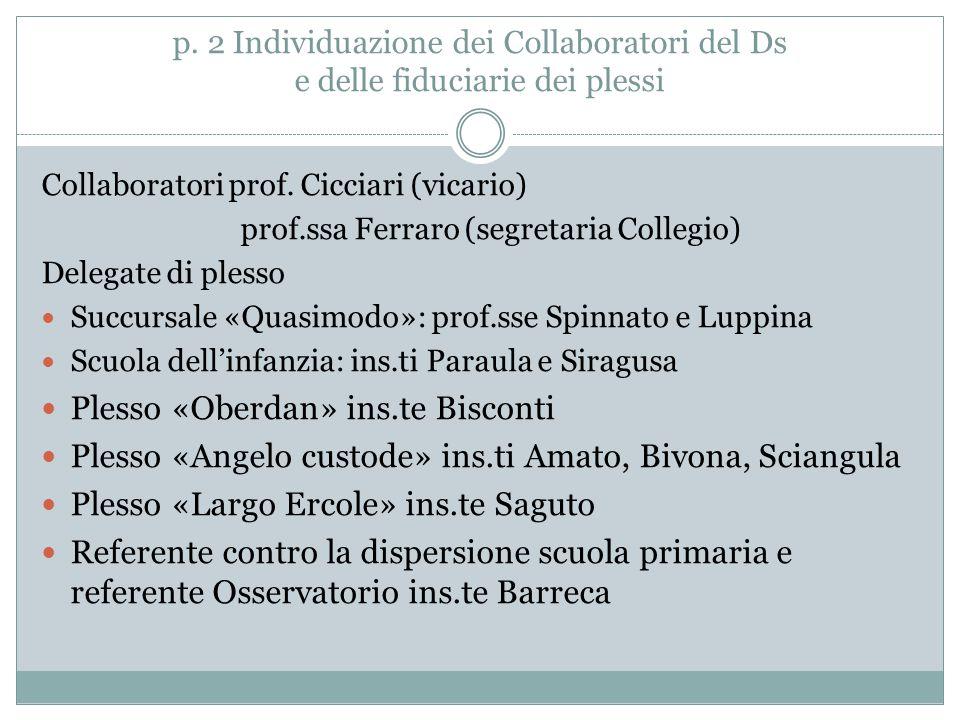 p. 2 Individuazione dei Collaboratori del Ds e delle fiduciarie dei plessi Collaboratori prof. Cicciari (vicario) prof.ssa Ferraro (segretaria Collegi