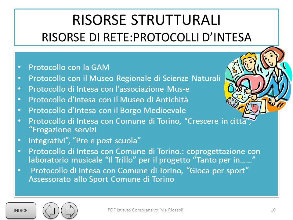 RISORSE STRUTTURALI RISORSE DI RETE:PROTOCOLLI D'INTESA - Protocollo con la GAM Protocollo con il Museo Regionale di Scienze Naturali Protocollo di In
