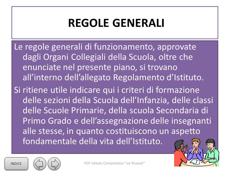REGOLE GENERALI Le regole generali di funzionamento, approvate dagli Organi Collegiali della Scuola, oltre che enunciate nel presente piano, si trovano all'interno dell'allegato Regolamento d'Istituto.