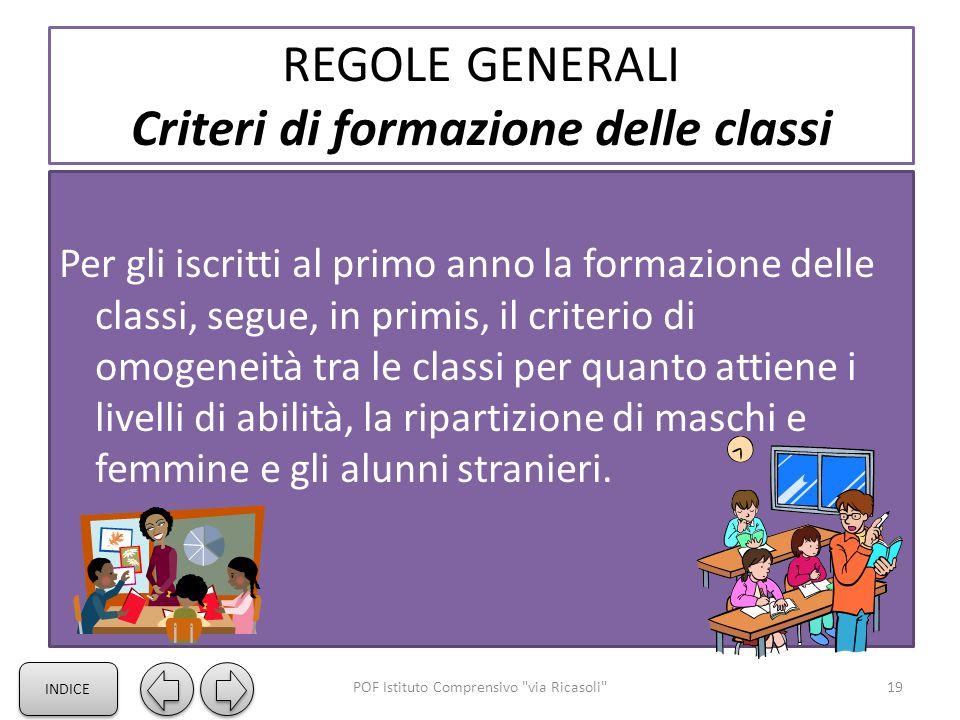 REGOLE GENERALI Criteri di formazione delle classi Per gli iscritti al primo anno la formazione delle classi, segue, in primis, il criterio di omogeneità tra le classi per quanto attiene i livelli di abilità, la ripartizione di maschi e femmine e gli alunni stranieri.