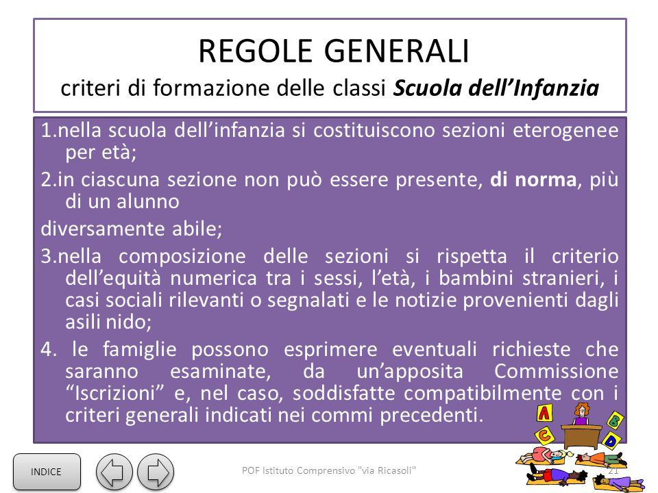 REGOLE GENERALI criteri di formazione delle classi Scuola dell'Infanzia 1.nella scuola dell'infanzia si costituiscono sezioni eterogenee per età; 2.in
