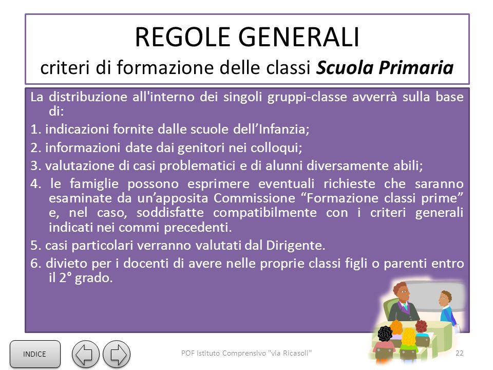 REGOLE GENERALI criteri di formazione delle classi Scuola Primaria La distribuzione all'interno dei singoli gruppi-classe avverrà sulla base di: 1. in