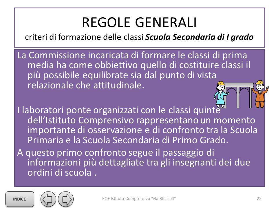 REGOLE GENERALI criteri di formazione delle classi Scuola Secondaria di I grado La Commissione incaricata di formare le classi di prima media ha come obbiettivo quello di costituire classi il più possibile equilibrate sia dal punto di vista relazionale che attitudinale.