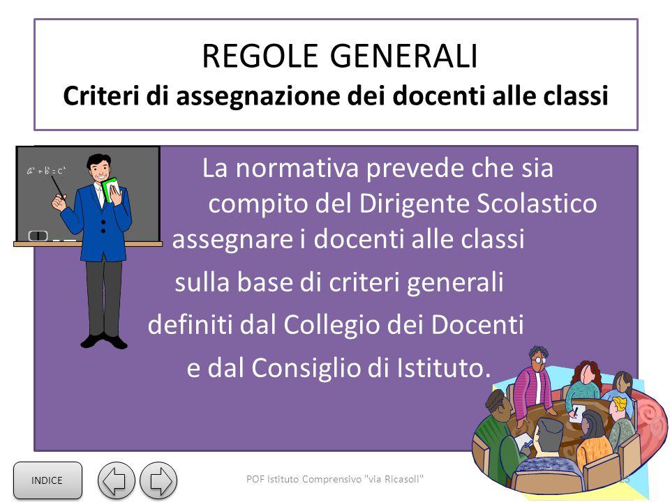 REGOLE GENERALI Criteri di assegnazione dei docenti alle classi La normativa prevede che sia compito del Dirigente Scolastico assegnare i docenti alle classi sulla base di criteri generali definiti dal Collegio dei Docenti e dal Consiglio di Istituto.