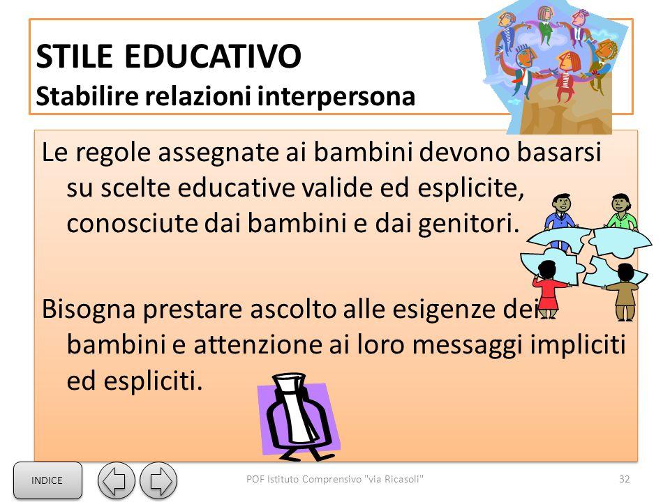 STILE EDUCATIVO Stabilire relazioni interpersona Le regole assegnate ai bambini devono basarsi su scelte educative valide ed esplicite, conosciute dai bambini e dai genitori.
