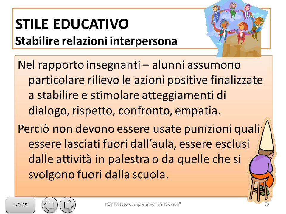 STILE EDUCATIVO Stabilire relazioni interpersona Nel rapporto insegnanti – alunni assumono particolare rilievo le azioni positive finalizzate a stabilire e stimolare atteggiamenti di dialogo, rispetto, confronto, empatia.