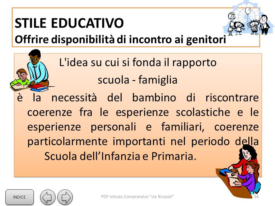 STILE EDUCATIVO Offrire disponibilità di incontro ai genitori L'idea su cui si fonda il rapporto scuola - famiglia è la necessità del bambino di risco