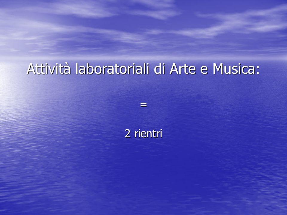 Attività laboratoriali di Arte e Musica: = 2 rientri