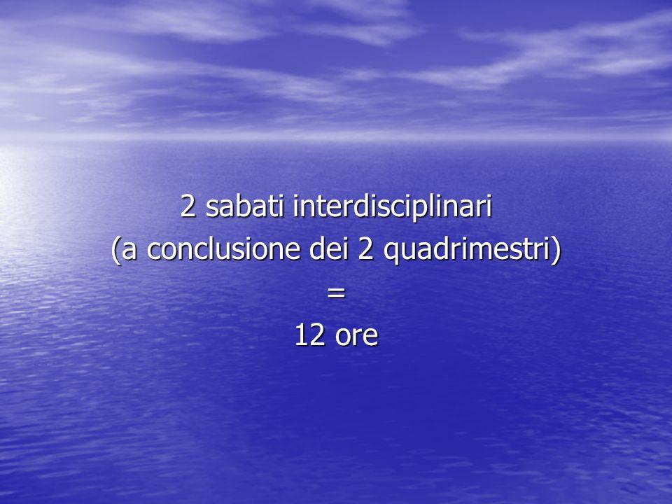 2 sabati interdisciplinari (a conclusione dei 2 quadrimestri) = 12 ore