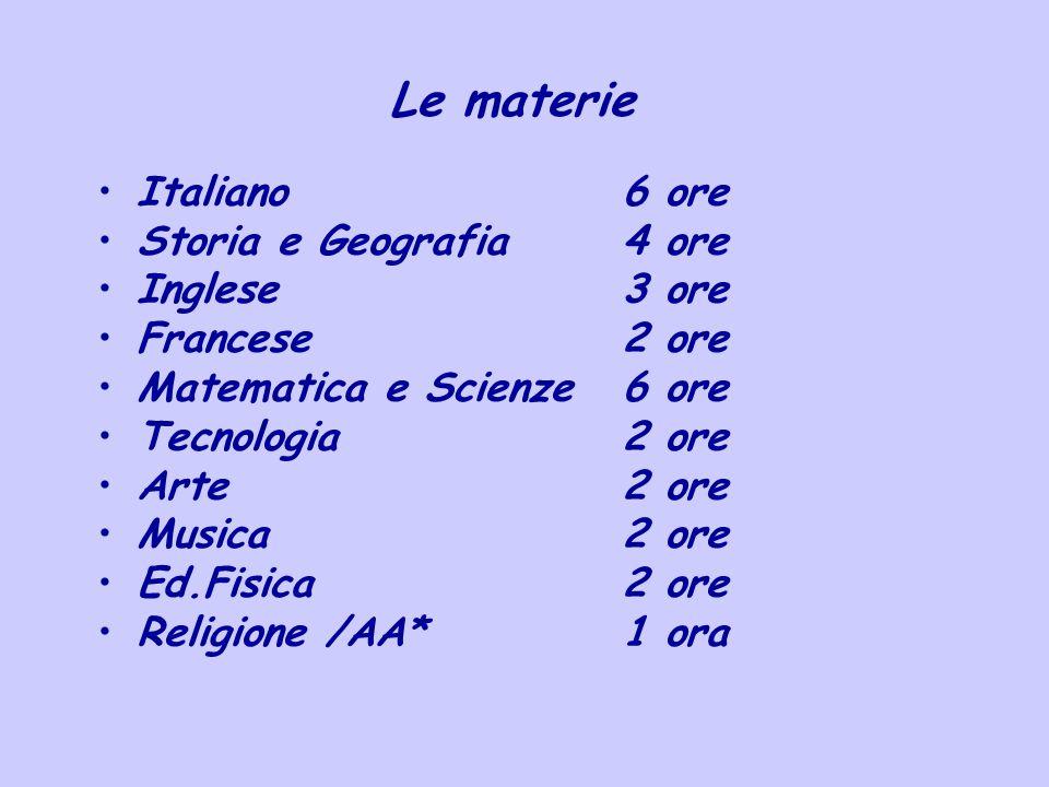 Le materie Italiano 6 ore Storia e Geografia4 ore Inglese3 ore Francese2 ore Matematica e Scienze6 ore Tecnologia2 ore Arte2 ore Musica2 ore Ed.Fisica