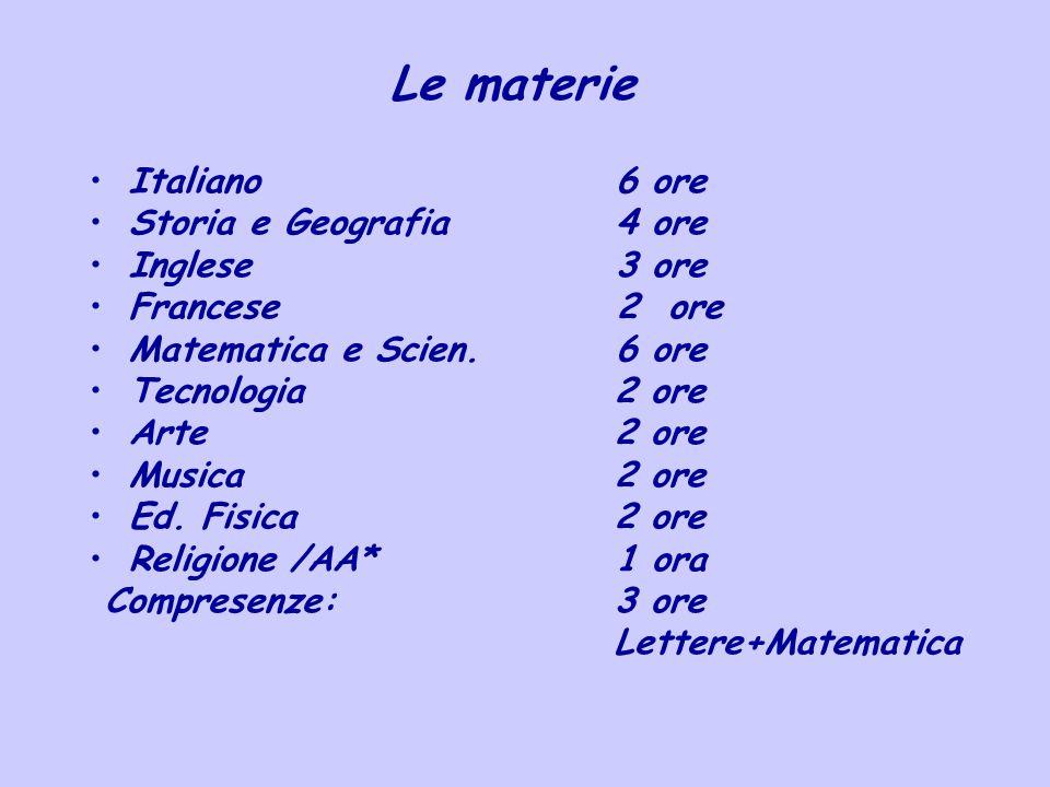Le materie Italiano 6 ore Storia e Geografia 4 ore Inglese 3 ore Francese 2 ore Matematica e Scien. 6 ore Tecnologia2 ore Arte2 ore Musica2 ore Ed. Fi