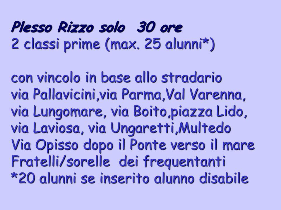 Plesso Rizzo solo 30 ore 2 classi prime (max. 25 alunni*) con vincolo in base allo stradario via Pallavicini,via Parma,Val Varenna, via Lungomare, via