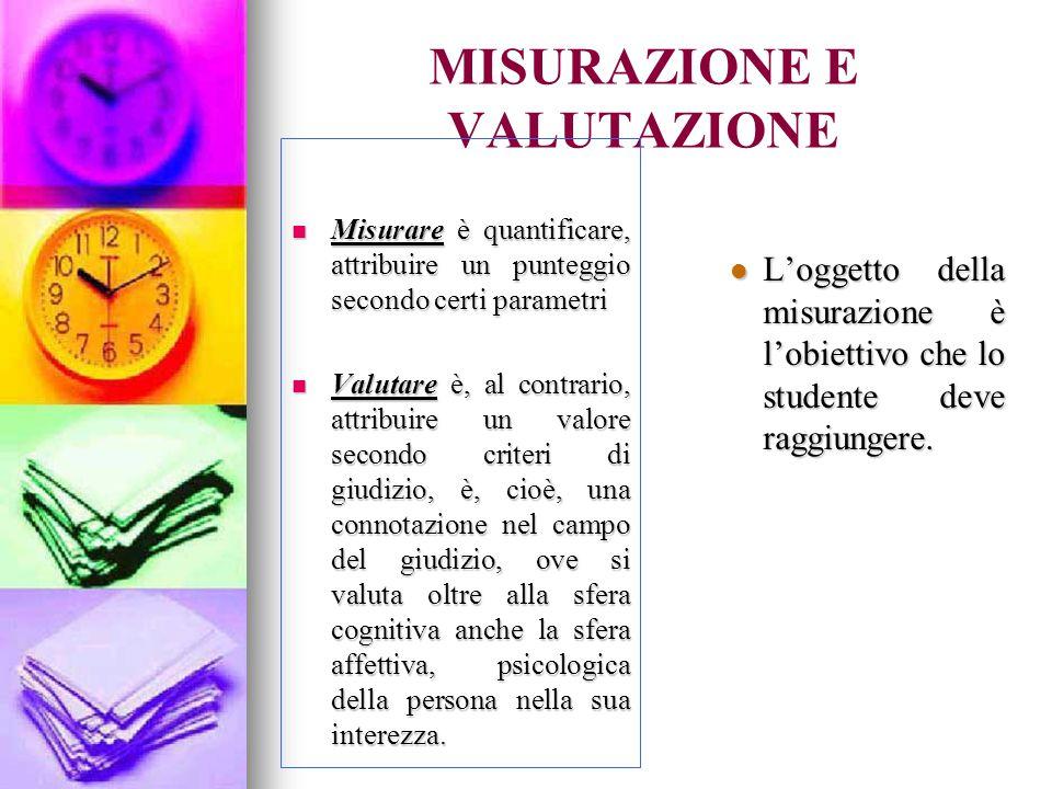 MISURAZIONE E VALUTAZIONE Misurare è quantificare, attribuire un punteggio secondo certi parametri Misurare è quantificare, attribuire un punteggio secondo certi parametri Valutare è, al contrario, attribuire un valore secondo criteri di giudizio, è, cioè, una connotazione nel campo del giudizio, ove si valuta oltre alla sfera cognitiva anche la sfera affettiva, psicologica della persona nella sua interezza.