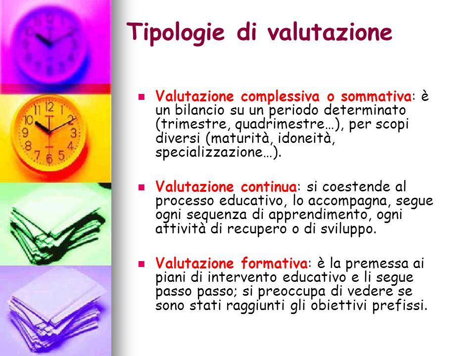 Tipologie di valutazione Valutazione complessiva o sommativa: è un bilancio su un periodo determinato (trimestre, quadrimestre…), per scopi diversi (maturità, idoneità, specializzazione…).
