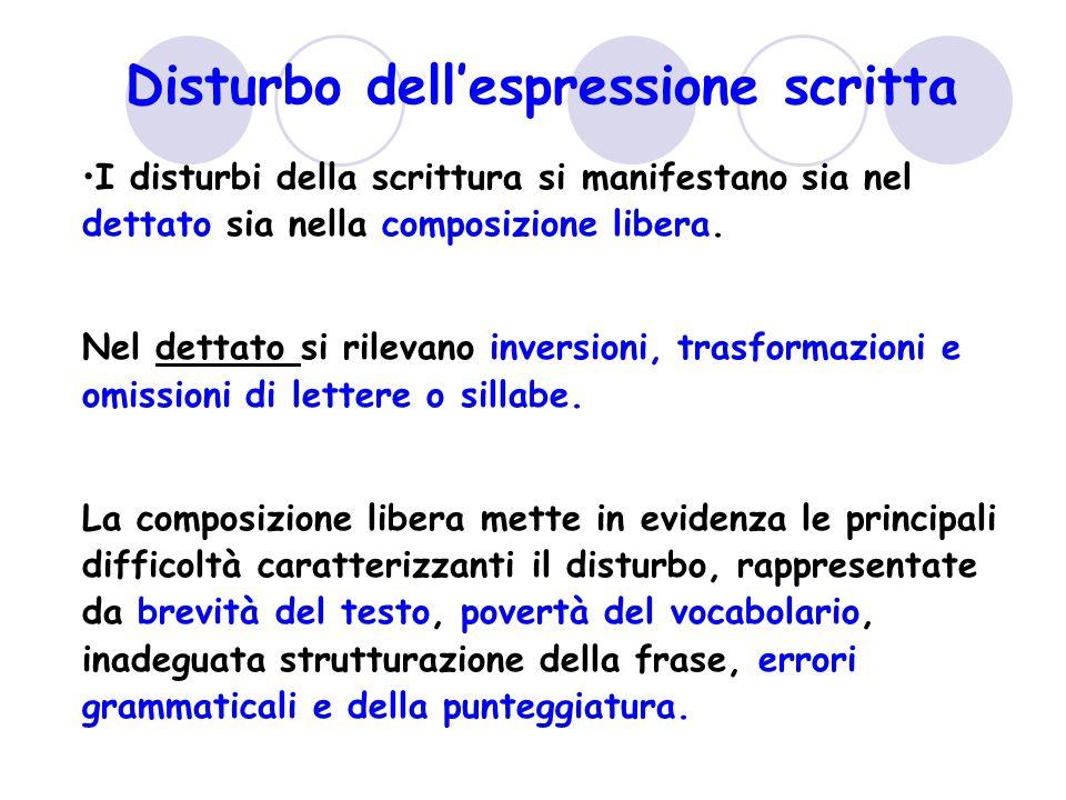 Disturbo dell'espressione scritta I disturbi della scrittura si manifestano sia nel dettato sia nella composizione libera. Nel dettato si rilevano inv