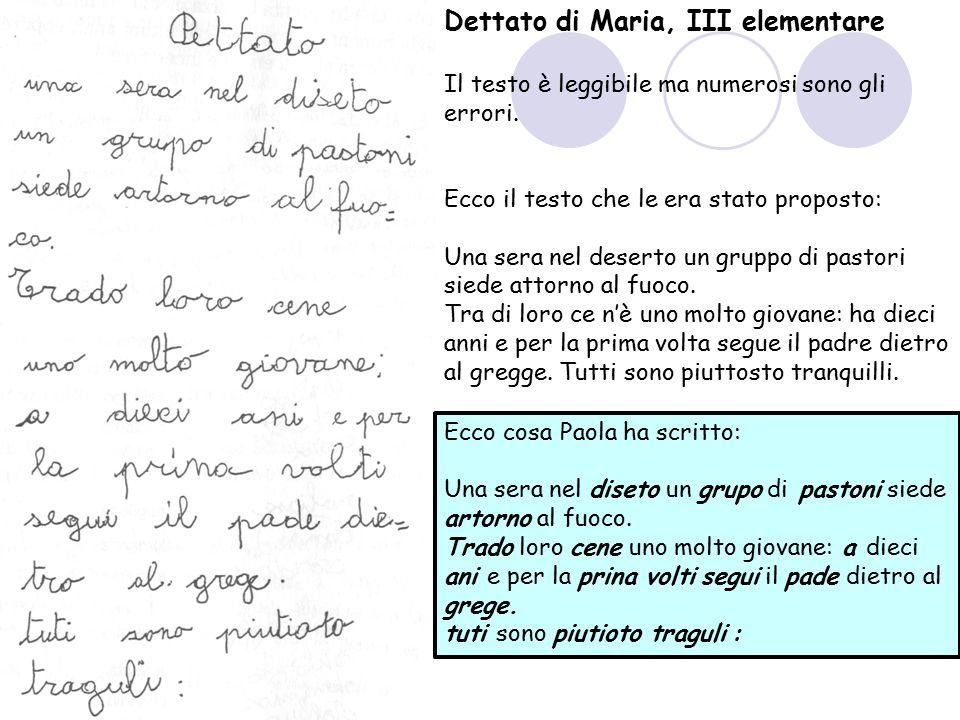 Dettato di Maria, III elementare Il testo è leggibile ma numerosi sono gli errori. Ecco il testo che le era stato proposto: Una sera nel deserto un gr