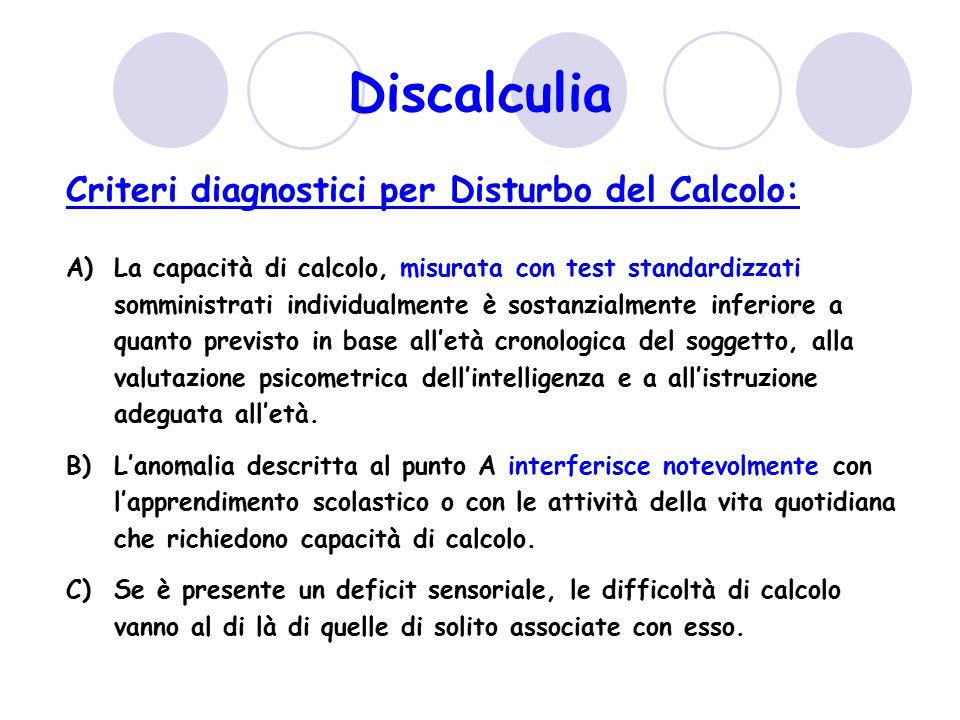 Criteri diagnostici per Disturbo del Calcolo: A)La capacità di calcolo, misurata con test standardizzati somministrati individualmente è sostanzialmen